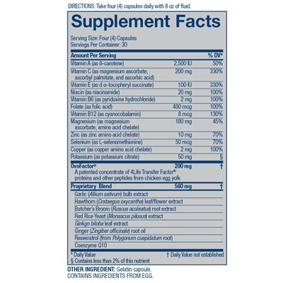 4Life-Transfer-Factor-Cardio-ingredients