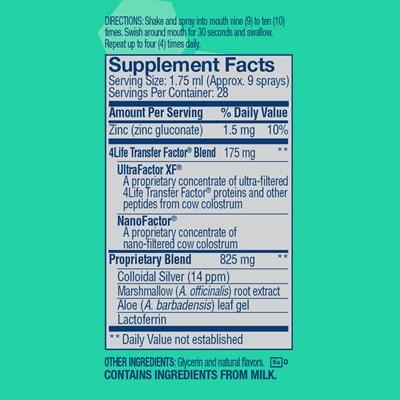 4Life-Transfer-Factor-Immune-Spray-Mint-ingredients