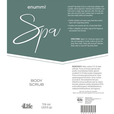 Body scrub facts from label