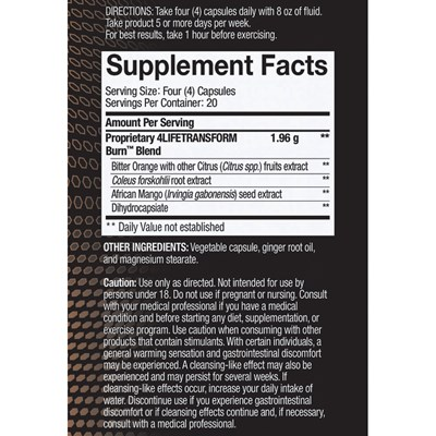 Burn Nutrition Facts
