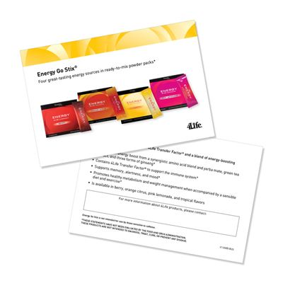 Energy Go Stix Marketing Cards