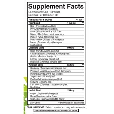 Fibre System Nutrition Facts