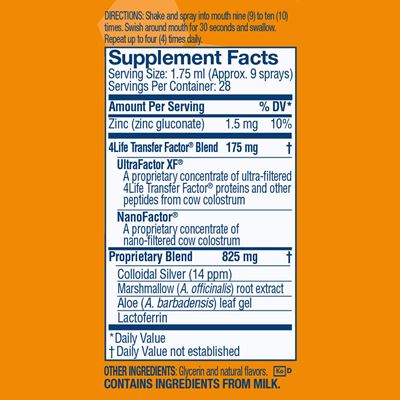 Spray Orange Nutrition Facts