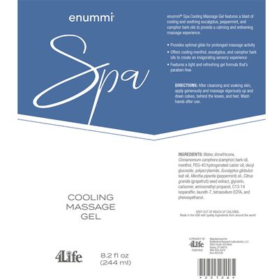 Massage gel facts from label