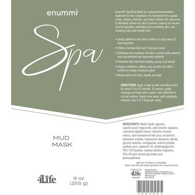 Mud Mask facts from label