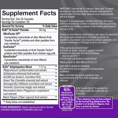 Renuvo Nutrition Facts