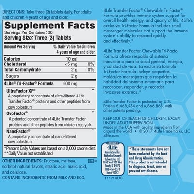 Chewable Nutrition Facts