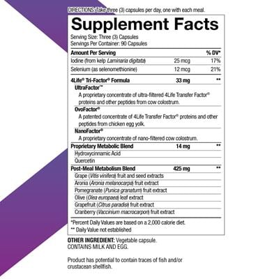 Metabolite Nutritional Facts