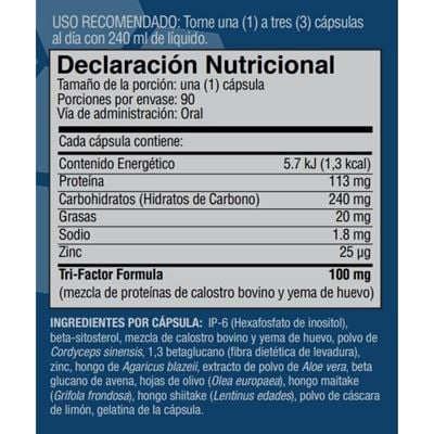 bolivia plus nutritional facts