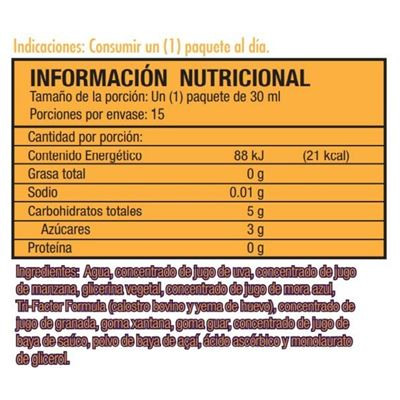 bolivia riovida burst nutritional facts