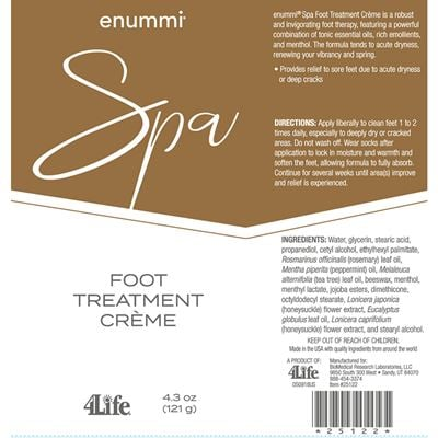 Foot treatment creme facts from label