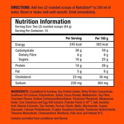 nutrastart choco ingredients