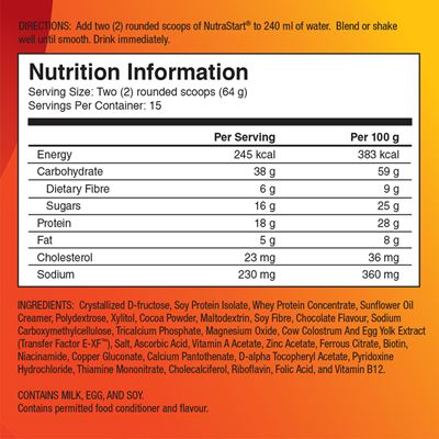 NutraStart nutritional facts